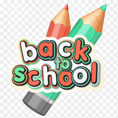 Poster with lettering back to school. realistic pencils, colorful letters on transparent PNG