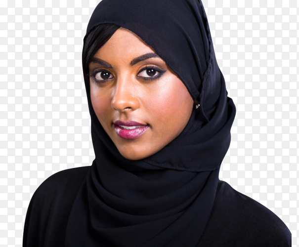 Pretty young Muslim woman on transparent background PNG