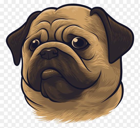 Pug dog portrait premium vector PNG