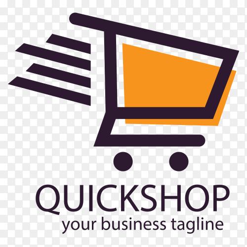 Quick shop logo design on transparent background PNG