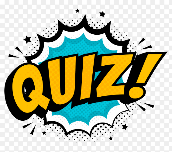 Quiz comic pop art style illustration on transparent background PNG
