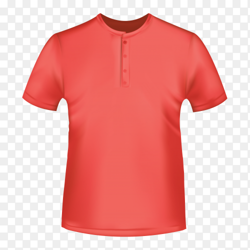 Realistic Red shirt for men on transparent background PNG