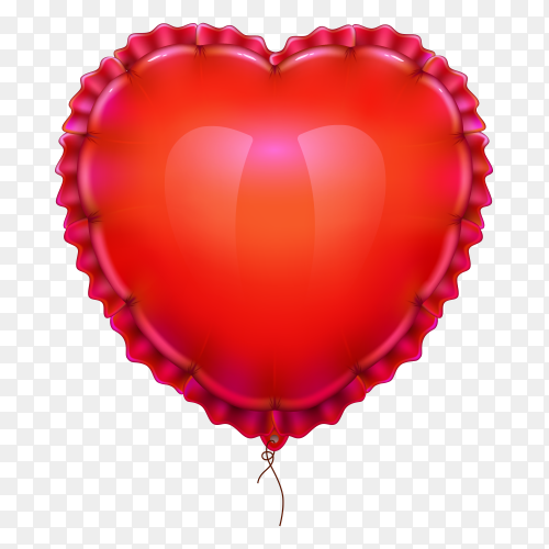 Realistic air balloon in shape of elegant heart on transparent background PNG