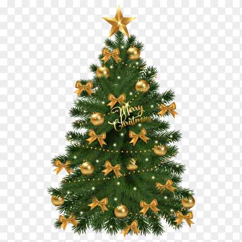 Realistic beautiful decorated Christmas tree on transparent PNG