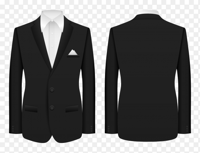 Realistic business man suit on transparent background PNG