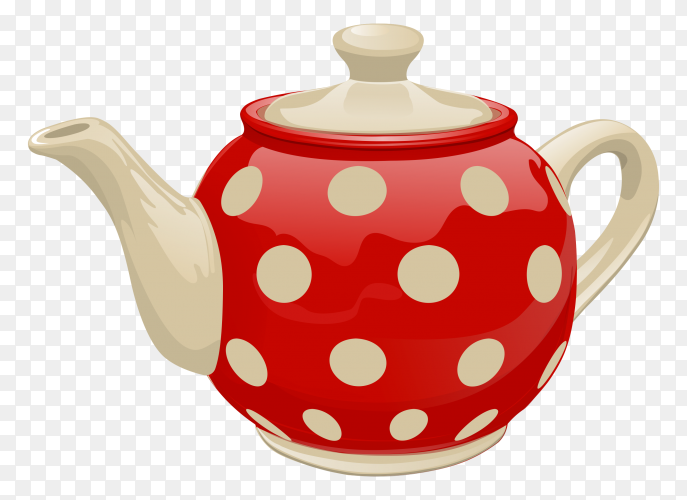 Realistic ceramic teapot premium vector PNG