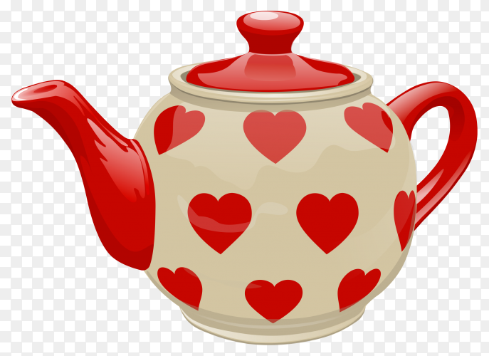 Realistic ceramic teapot. white with red heart on transparent background PNG