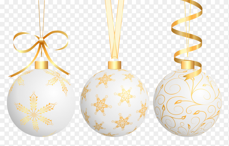 Realistic Christmas balls with golden ribbon on transparent background PNG