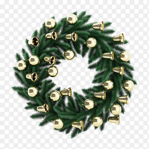 Realistic Christmas wreath premium vector PNG