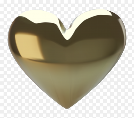 Realistic gold heart illustration on transparent background PNG