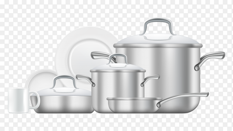 Realistic kitchen utensil collection on transparent background PNG