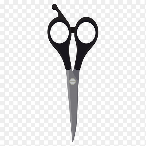 Realistic of scissors with black plastic handles on transparent background PNG