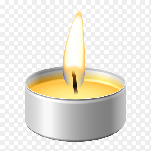 Realistic round wax tealight candle on transparent background PNG