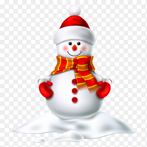 Realistic snowman smiling standing in snow  on transparent background PNG