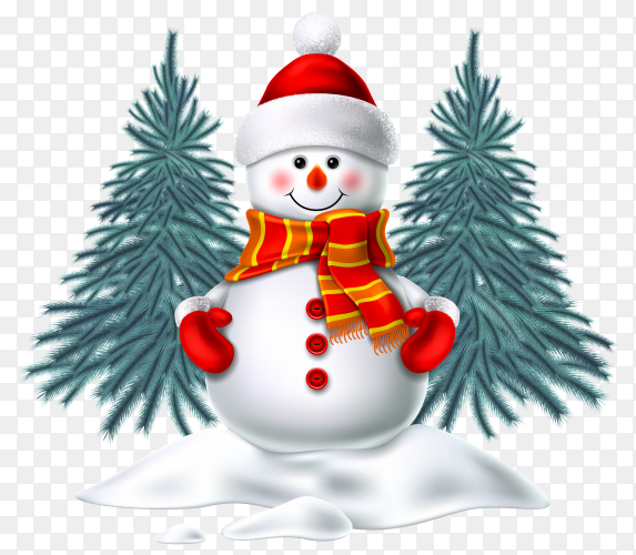 Realistic snowman smiling standing in snow near spruce trees on transparent background PNG