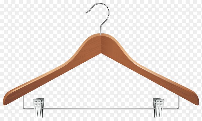 Realistic wooden clothes hanger premium vector PNG