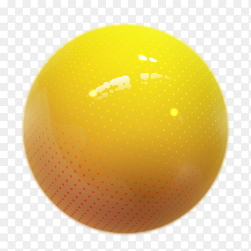 Realistic yellow ball. Glossy sphere isolated on transparent background PNG