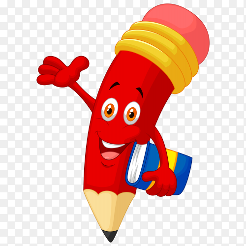 Red cartoon pencil on transparent PNG
