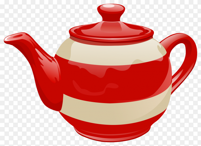 Red ceramic teapot illustration on transparent background PNG