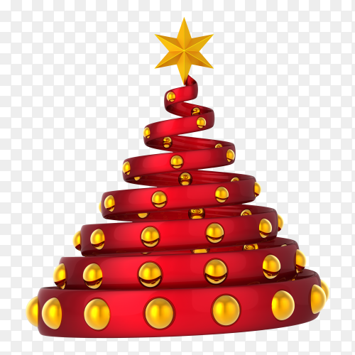 Red Christmas tree with golden ball and star on transparent PNG