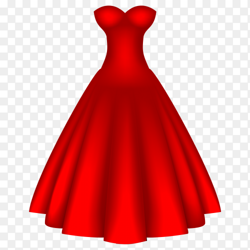 Red dress for women on transparent background PNG