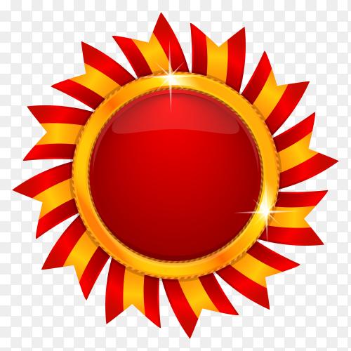 Red sun medal on transparent background PNG