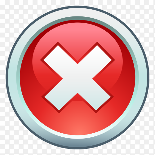 Red wrong check mark on transparent PNG