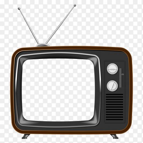 Retro tv icon on transparent PNG