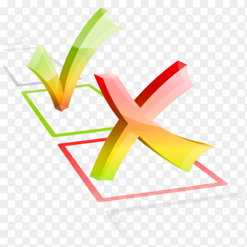 Right and wrong check mark on transparent background PNG