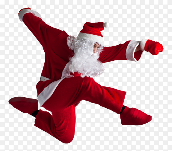 Santa Claus dancing on transparent PNG