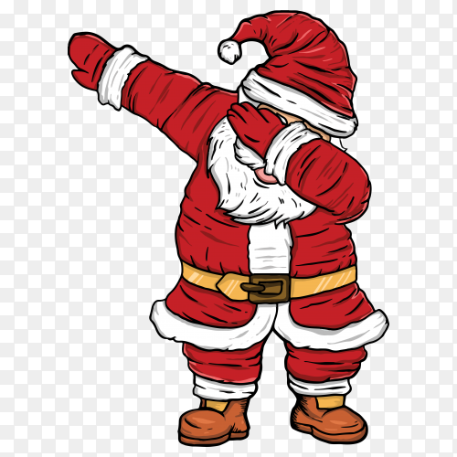 Santa Claus dancing dab illustration Clipart PNG