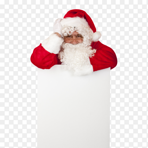 Santa Claus is leaning on a white board with space for Christmas offers on transparent background PNG