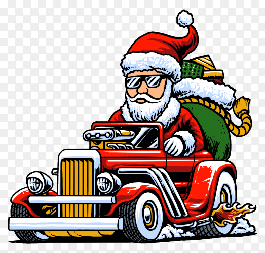 Santa Claus drives a hot rod car on transparent background PNG