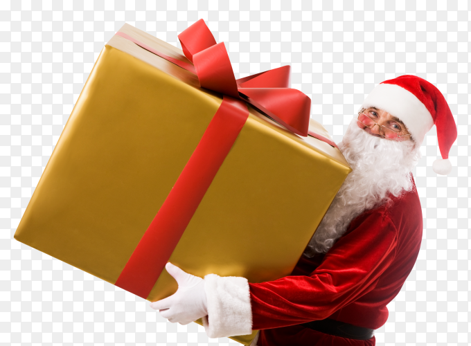 Santa claus carrying big box gift on transparent background PNG