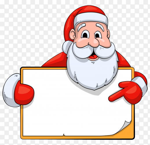 Santa Claus character holding blank banner on transparent background PNG