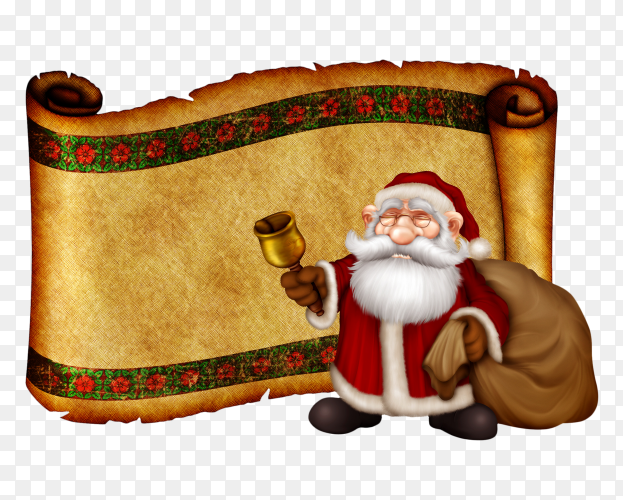 Santa claus holding bell and gifts on transparent background PNG