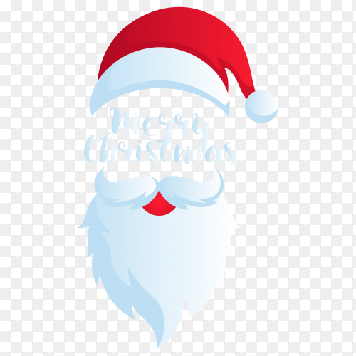 Santa Claus mask face with merry Christmas lettering premium vector PNG