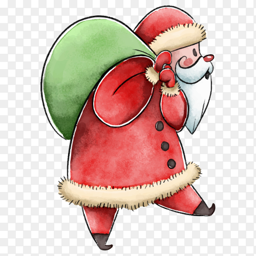 Santa Claus with bag gift in flat design on transparent background PNG