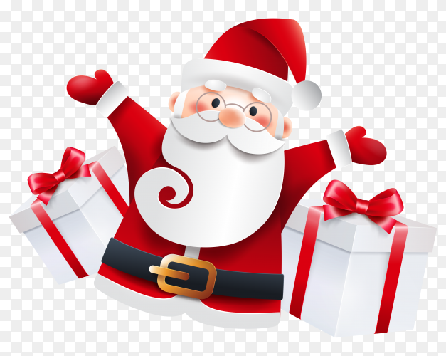 Santa Claus with gifts isolated on transparent background PNG