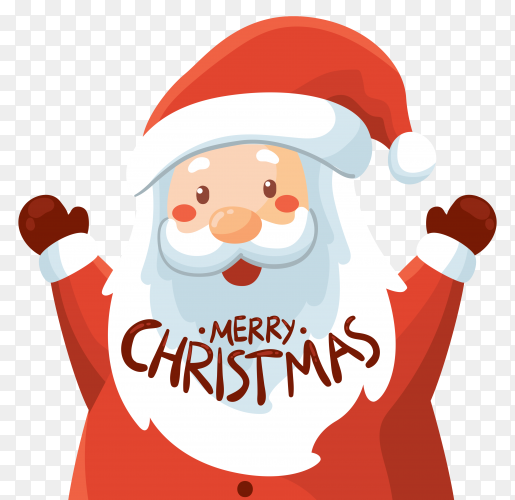 Santa Claus with merry Christmas lettering on transparent background PNG