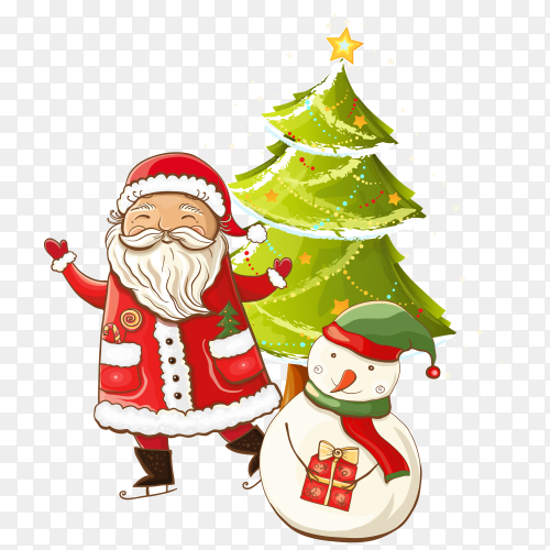 Santa Claus with snowman and Christmas tree premium vector PNG