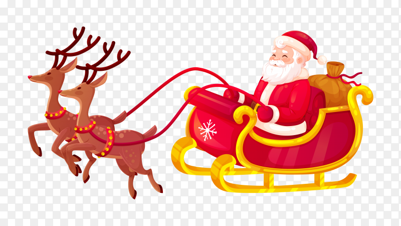 Santa in his christmas sled being pulled by reindeer clipart PNG