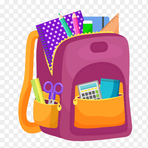 School backpack and school supplies on transparent background PNG