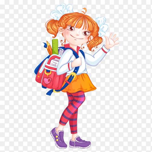 School girl with a briefcase on transparent background PNG