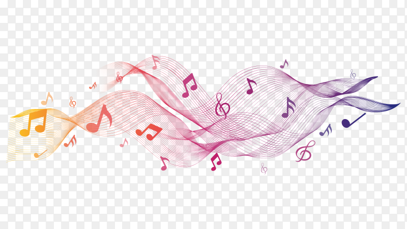 Shiny abstract waves with musical notes on transparent background PNG