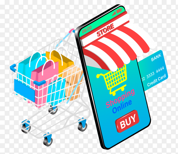 Shopping online on smartphone with credit card on transparent background PNG