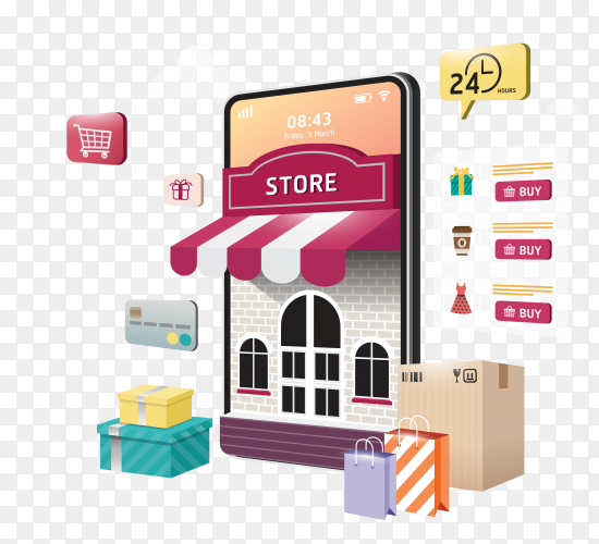 Online Shopping on website or mobile application Clipart PNG