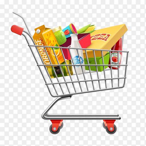 Shopping supermarket cart with grocery pictogram on transparent background PNG
