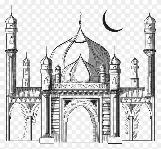 Sketch mosque illustration on transparent background PNG