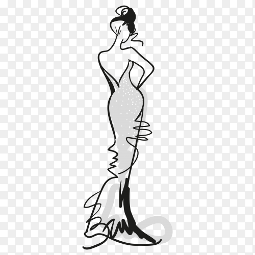 Sketched fashion girl with grey dress on transparent background PNG